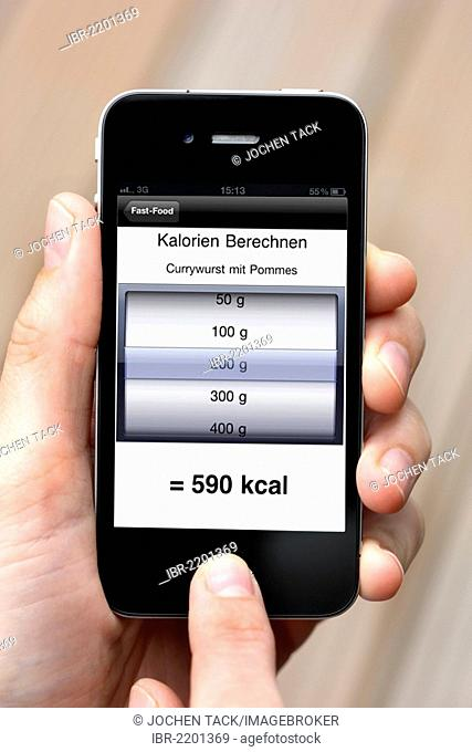 Iphone, smart phone, app on the screen, calorie calculator