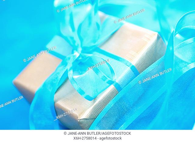 special gift, gift wrapped with blue bow
