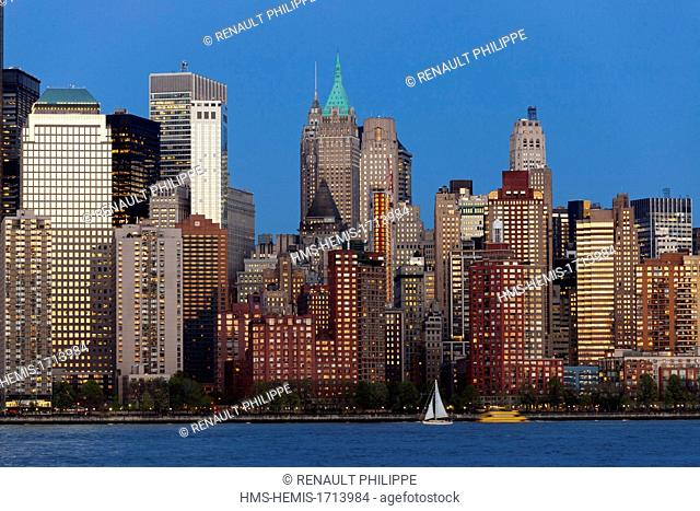 United States, New York, Manhattan, the view of the skyscrapers of Lower Manhattan