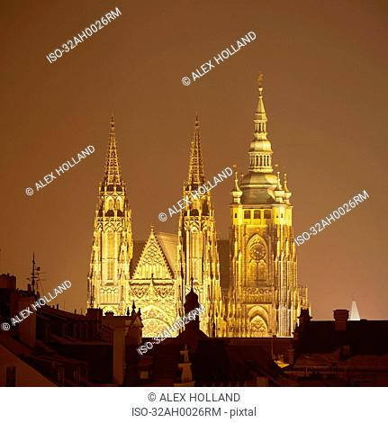 Cathedral of St. Vitus lit up at night
