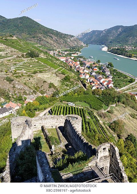 Castle ruin Hinterhaus in the village Spitz in the Wachau. The Wachau is a famous vineyard and listed as Wachau Cultural Landscape as UNESCO World Heritage