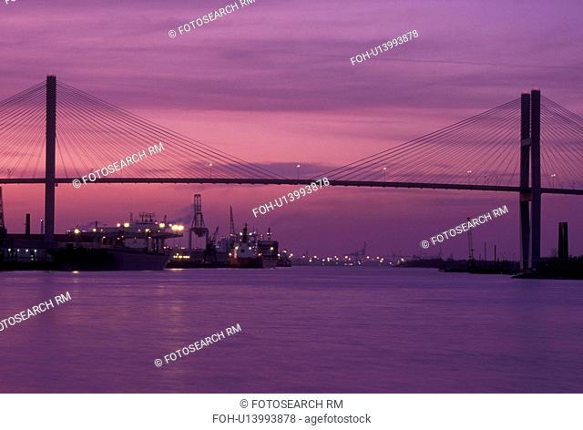 bridge, Savannah, GA, Georgia, Talmadge Memorial Bridge crossing the Savannah River at dusk in Savannah
