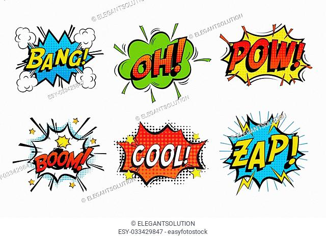 Emotions for comics speech like bang and cool, oh or ooh. Onomatopoeia clouds for explosions like boom, punches - pow, cool with stars and zap with lightning