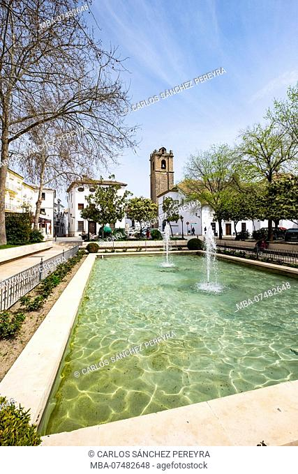 Square with a fountain in the center of the city of Priego de Cordoba in Andalucia south of Spain