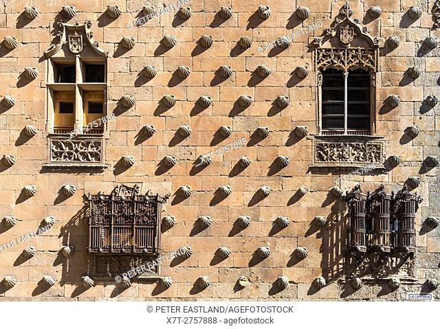 Wrought iron windows and decorative stone work on The 16th cen. Casa De Las Conchas, Salamanca, Spain