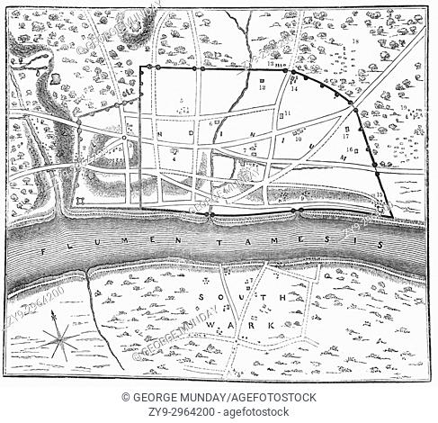 A plan of Londinium, or London, around AD 70, around which the Roman Walls can be seen. The small hill (marked No 3) is the eventual site of St Paul's Cathedral