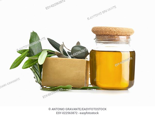 Aleppo soap and laurel on white background