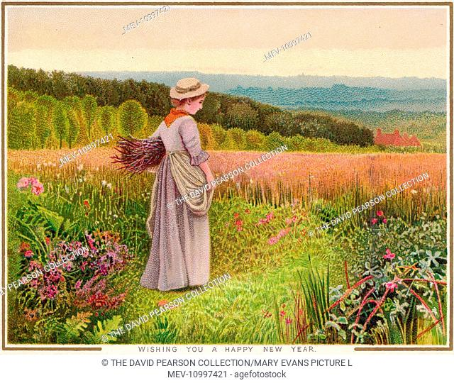 Rural scene in summer on a New Year card, with a young woman carrying a bunch of firewood