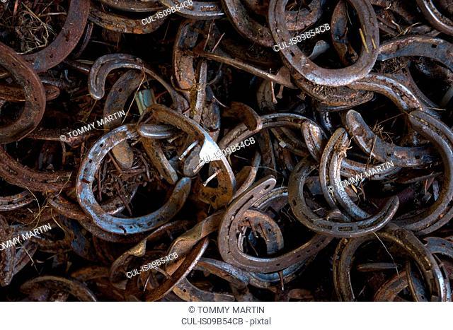 Full frame image of horseshoes