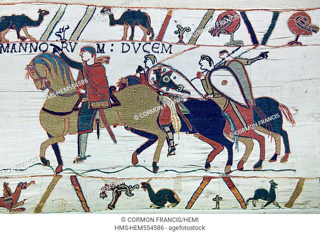 France, Calvados, Bayeux, tapestry museum, Bayeux tapestry, tapestry of Queen Mathilde, listed as Memory of the World by UNESCO, Guy gives Harold to Guillaume