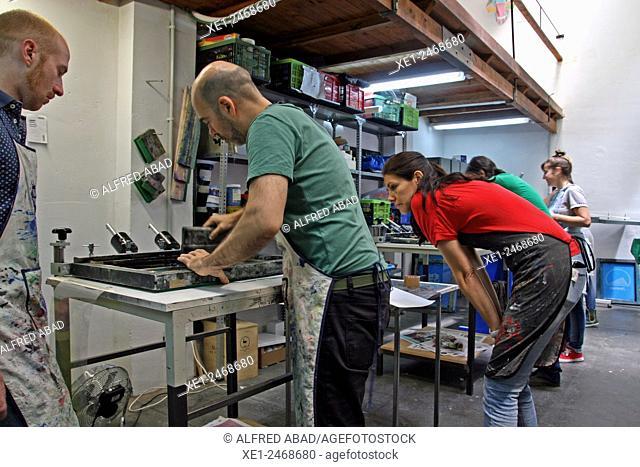 Stamping workshop, Gracia district, Barcelona, Catalonia, Spain