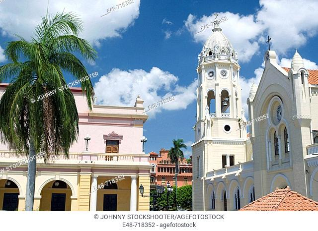 National theater and Saint Francis of Assisi. Old Town. San Filipe. Panama City. Panama