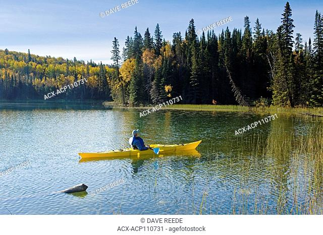 kayaking, Glad Lake , Duck Mountain Provincial Park, Manitoba, Canada