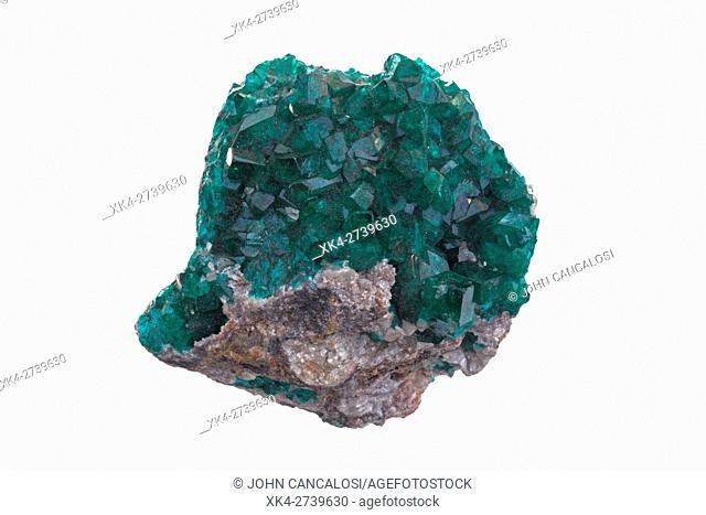 Dioptase, copper cyclosilicate mineral, Tsumeb mine, Namibia