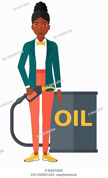 An african-american woman standing beside the oil can and holding filling nozzle vector flat design illustration isolated on white background