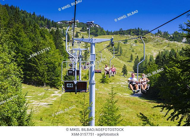 Sky lift in summer. Velika Planina sky area. Upper Carniola region. Slovenia, Europe