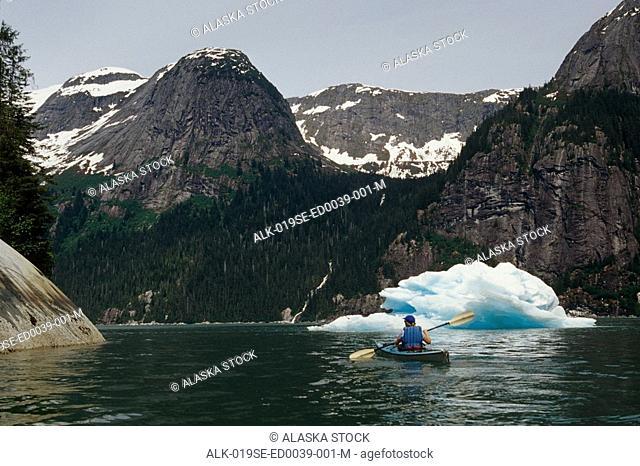 Sea Kayaker near Iceberg in Tracy Arm SE Alaska Summer/nFords Terror Wilderness