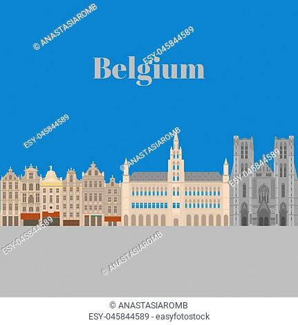 City sights. Brussels architecture landmark. Belgium country flat travel elements. Famous square Grand place. Cathedral of St. Michael and St. Gudula