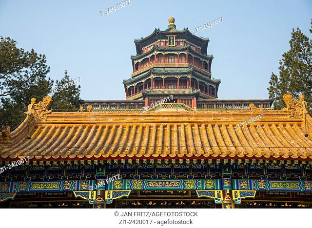 roof detail and temple at summer palace at beijing china