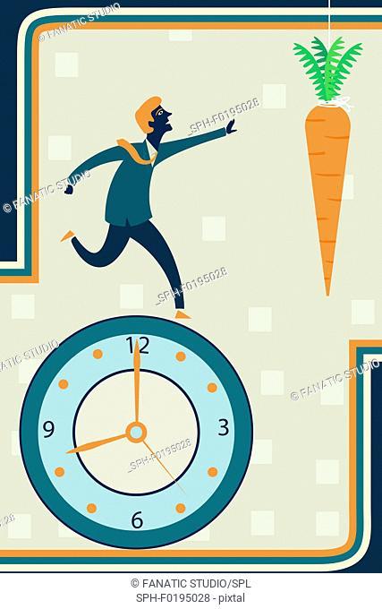 Illustration of businessman running on clock