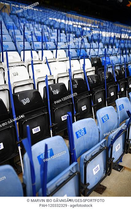 Seats Stamford Bridge. GES / Football: UEFA Europa League semi-final, reverse: Chelsea FC - Eintracht Frankfurt, 09.05.2019 Soccer: UEFA Europa League Semifinal