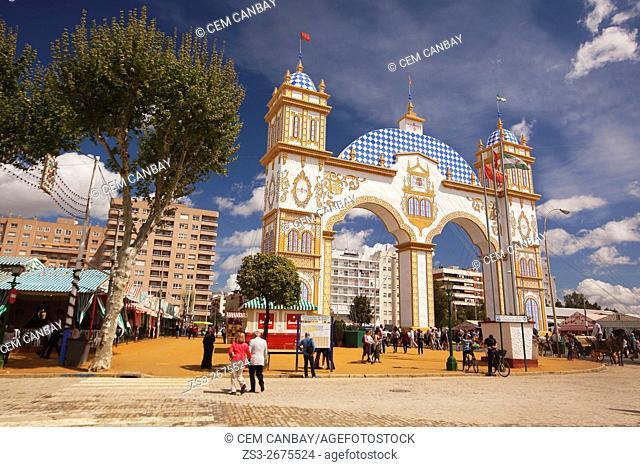 Entrance door of the April Fair-Feria de Abril area, Seville, Andalusia, Spain, Europe