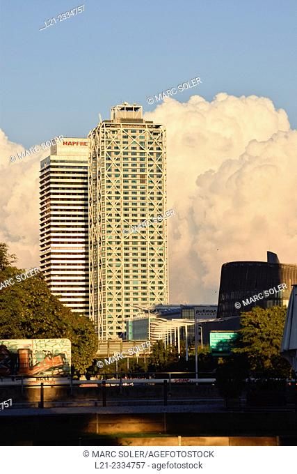 Hotel Arts and Mapfre Tower. Olympic Village, Barcelona. Catalonia, Spain