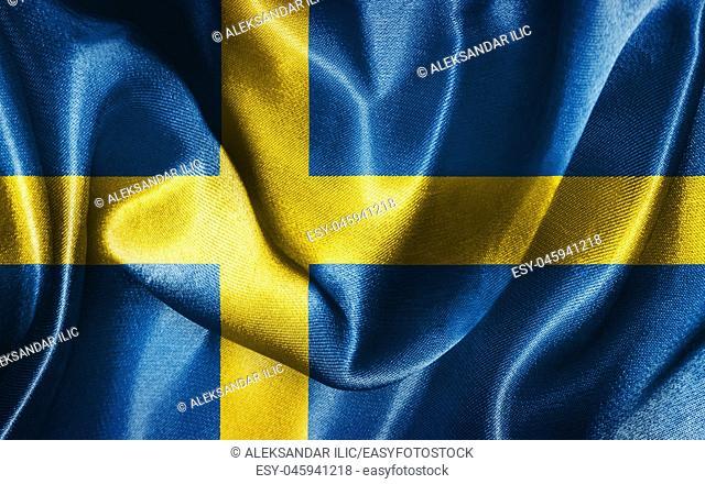 Sweden National Flag Waving in The Wind Illustration