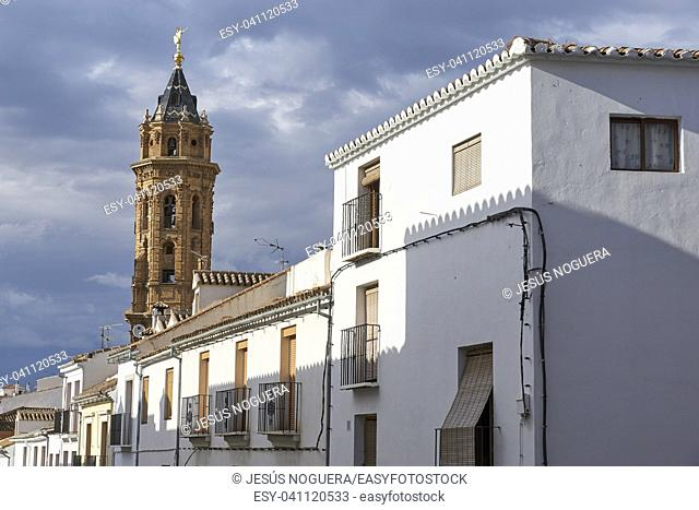 Antequera and tower of the Church of San Sebastian. Andalusia, Malaga, Spain