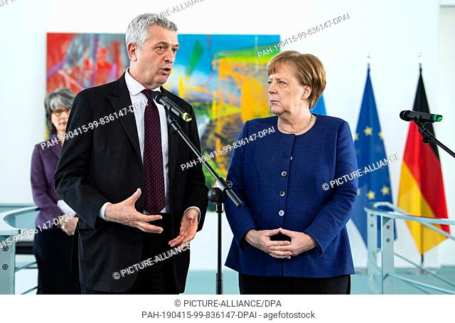 15 April 2019, Berlin: Federal Chancellor Angela Merkel (r, CDU) and Filippo Grandi, United Nations High Commissioner for Refugees (UNHCR)
