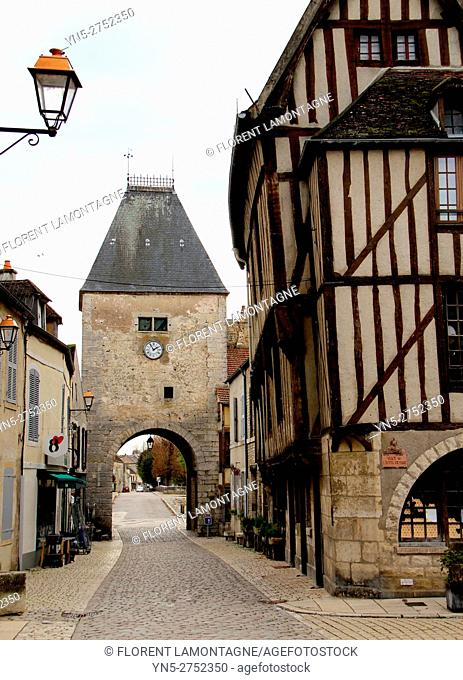 Noyers sur Serein, Yonne (89), Burgundy, scenery on the village and its timbering houses