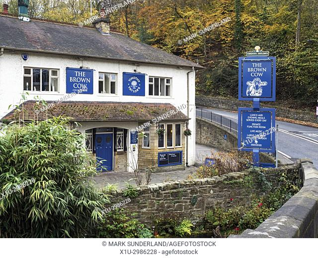 The Brown Cow Pub in Autumn Bingley West Yorkshire England