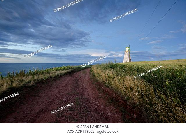 Cape Tryon Lighthouse, Cape Tryon, Prince Edward Island, Canada, dirt road, ocean, Gulf of St. Lawrence