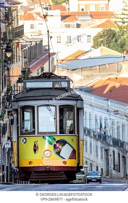 yellow vintage streetcar tramway Bairo Alto Lisbon Portugal
