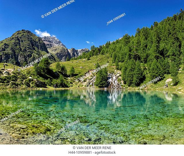 Lac Bleu, lake, landscape, water, summer, mountains, hills, people, La Gouille, Val d'Herens, Wallis, Valais, Switzerland, Europe