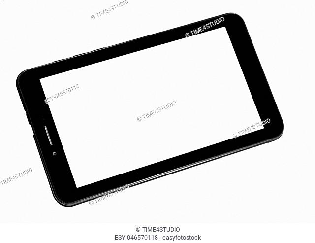 Tablet black on white background cutout isolated without screen side