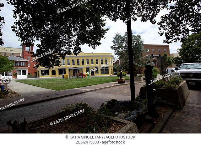 Yellow building, in downtown Durham. horizontal photos taking from little park