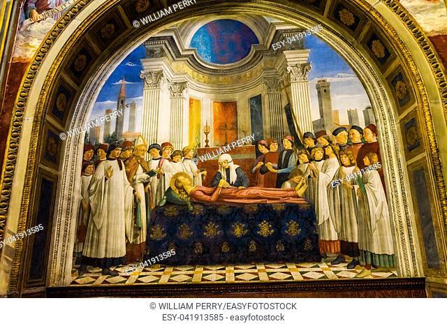 Funeral Saint Fina Medieval Renaissance Fresco Collegiate Church of Santa Maria Assunta San Gimignano Tuscany Italy. By Domenico Ghirlandaio 1477