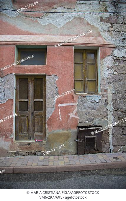 An old house front in the small village of Bortigali, Sardinia, Italy