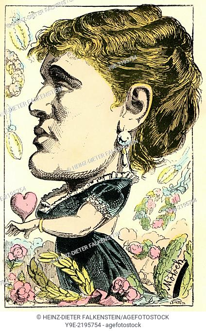 Marie-Gabrielle Krauss, 1842 - 1906, an Austrian-born French operatic soprano, caricature, 1882, by Alphonse Hector Colomb pseudonym B