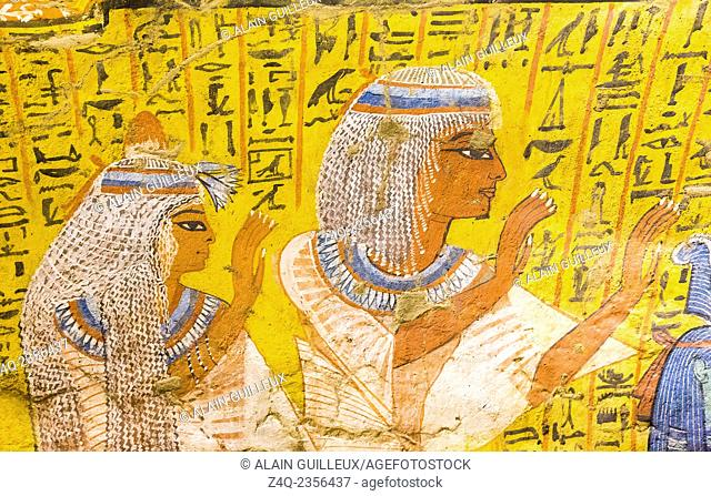UNESCO World Heritage, Thebes in Egypt, Deir el Medineh, tomb of Irynefer, a couple praying. They wear remarkable white wigs