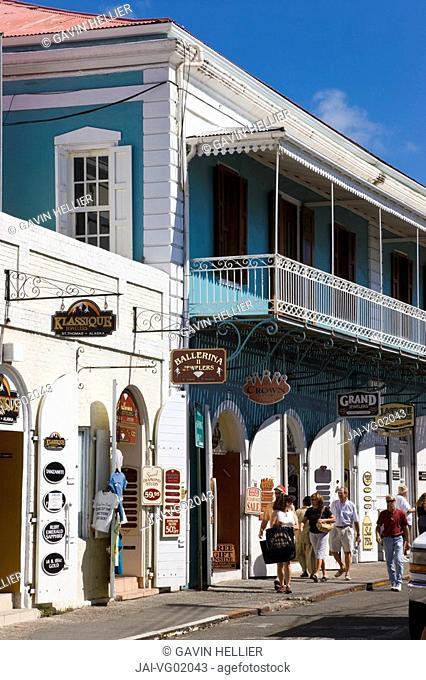 Caribbean, US Virgin Islands, St. Thomas, Charlotte Amalie, shops lining the central Main Street
