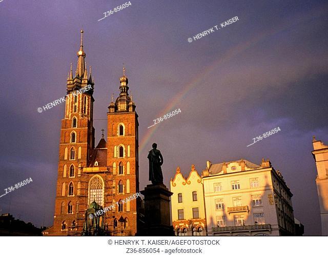 Raibow over Church of St Mary at Main Market Square, Krakow, Poland