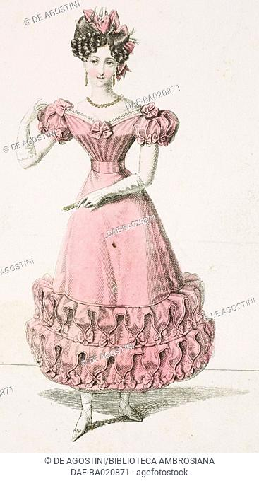 Woman wearing a pink dress and coloured ribbon in her hair, plate, French Fashions, Il Corriere delle Dame, 1827