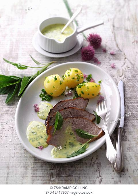 Prime boiled beef with buttered potatoes and herb mayonnaise