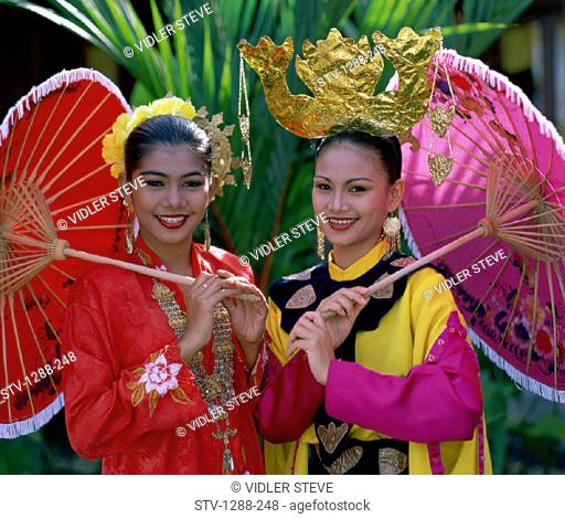 Asia, Asian, Costume, Happiness, Happy, Headdress, Holiday, Landmark, Malaysia, Outdoors, Parasols, People, Tourism, Travel, Umb