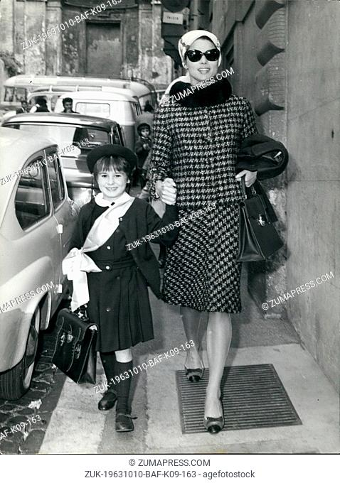 Oct. 10, 1963 - Italian actress Elsa Martinelli seen this morning with her little daughter Cristiana the 6 years old girl she had from her marriage to count...