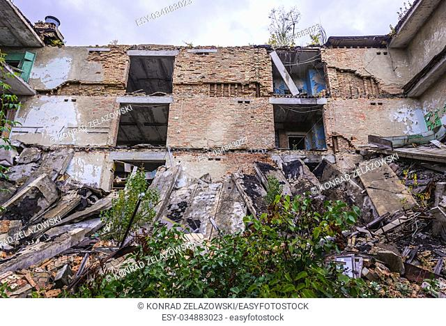 Collapsed school building in Pripyat ghost city of Chernobyl Nuclear Power Plant Zone of Alienation around nuclear reactor disaster in Ukraine