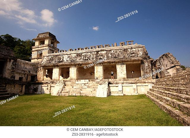 Tourists in front of the Palace in Palenque Archaeological Site, Palenque, Chiapas State, Mexico, Central America