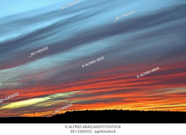 Sunset, Guissona, La Segarra, Catalonia, Spain